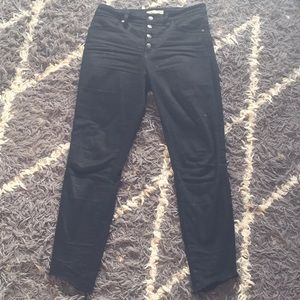 "madewell 10"" high rise skinny jeans with tulip hem"